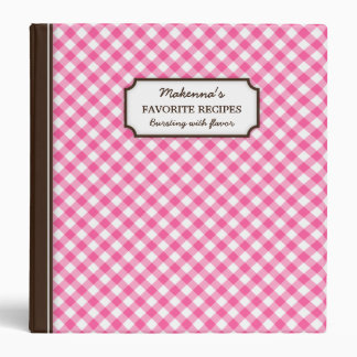 Pink gingham pattern personalized recipe book binder