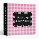 Pink Gingham pattern recipe binder cooking book