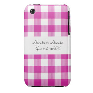 Pink gingham pattern wedding favors iPhone 3 cover