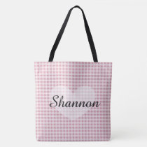 Pink Gingham  Personalized Name Tote Bag