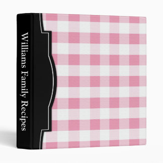 Pink Gingham personalized Recipe Binder