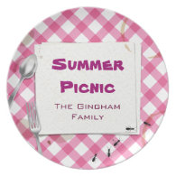 Pink Gingham Picnic BBQ Plate