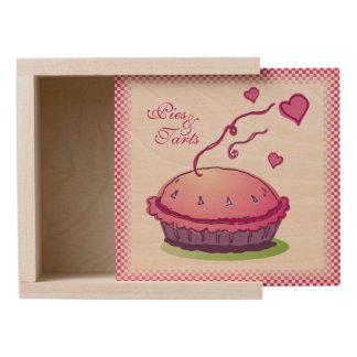 Pink Gingham Pies & Tarts Wooden Keepsake Box