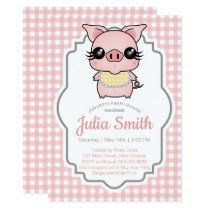 Pink Gingham Piggy Baby Shower Invitation