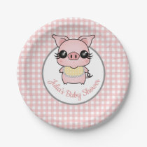 Pink Gingham Piggy Baby Shower Paper Plate