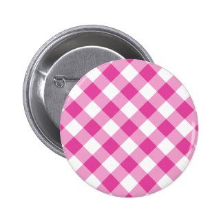 Pink Gingham Pinback Button