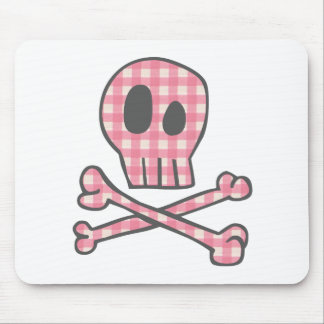 Pink Gingham Pirate Mouse Pad