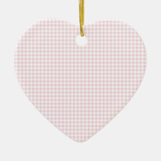 Pink Gingham Plaid Ceramic Ornament