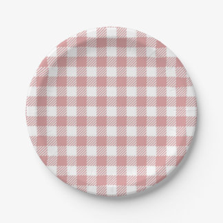 Pink Gingham Plaid Pattern Paper Plate