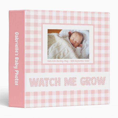 Pink Gingham  Polka Dots _ Baby Girl Photo Album 3 Ring Binder