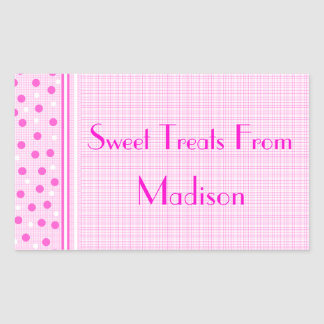 Pink Gingham & Polka Dots Sweets Rectangular Sticker