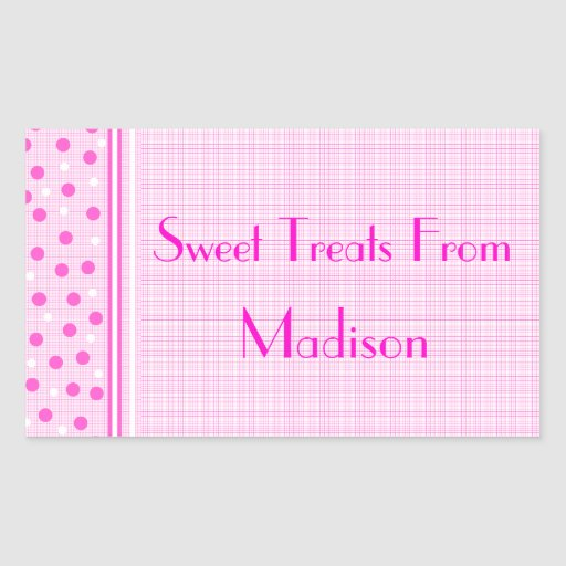 Pink Gingham & Polka Dots Sweets Stickers