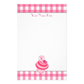 Pink Gingham / Raspberry Cupcake Stationery