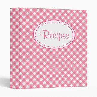 Pink Gingham Recipe Binder