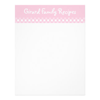 Pink Gingham Recipe Cards Letterhead
