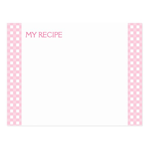 Pink Gingham Recipe Cards Post Card