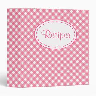 Pink Gingham Retro Recipe Binder