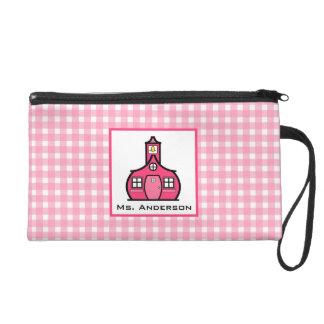 Pink Gingham & Schoolhouse Wristlet For Teachers