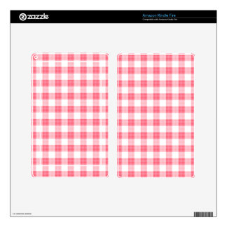 Pink Gingham Kindle Fire Decals