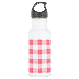Pink Gingham Stainless Steel Water Bottle