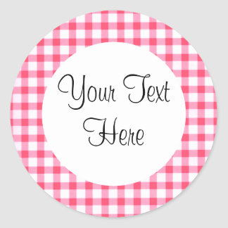Pink Gingham Sticker