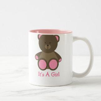 Pink Gingham Stuffed Bear Baby Shower It's A Girl Two-Tone Coffee Mug