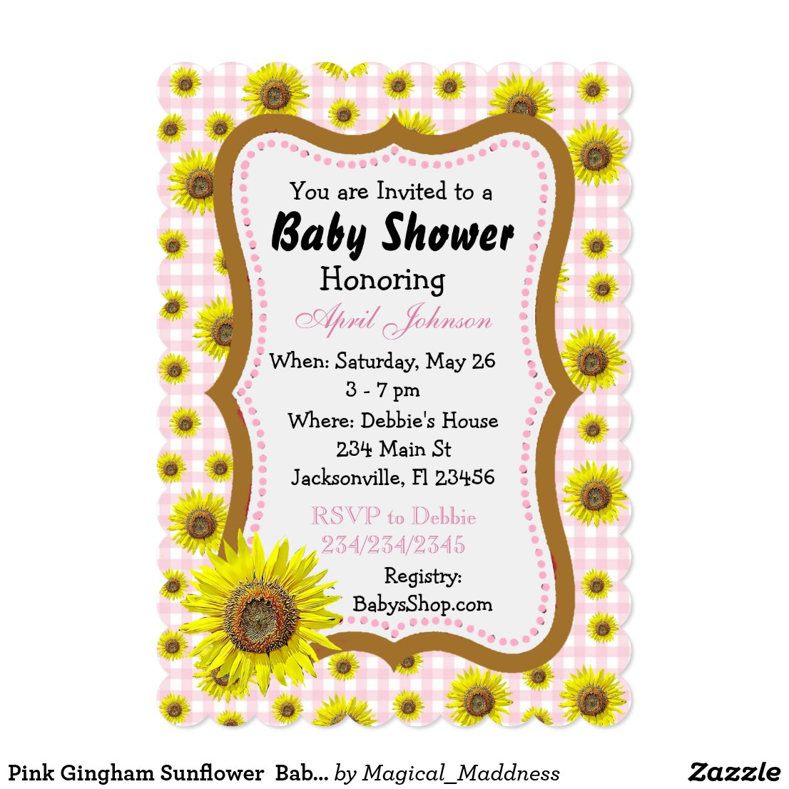 Pink Gingham Sunflower Baby Shower Invites