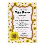 Pink Gingham Sunflower  Baby Shower Invites