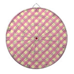 Pink Gingham Vintage Pattern Dartboard With Darts