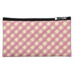 Pink Gingham Vintage Pattern Makeup Bags