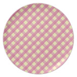 Pink Gingham Vintage Pattern Plates