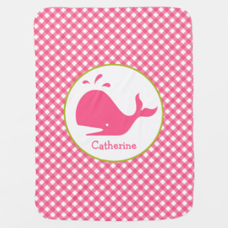 Pink Gingham + Whale Personalized Baby Blanket