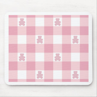 Pink gingham with cute hearts pattern girly chic mouse pad
