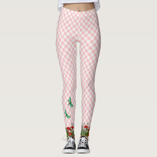 Pink Gingham with dragonflies and poppies Leggings