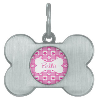 Pink Gingham with Paws and Bone Pet ID Tag