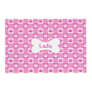 Pink Gingham with Paws and Bone Placemat