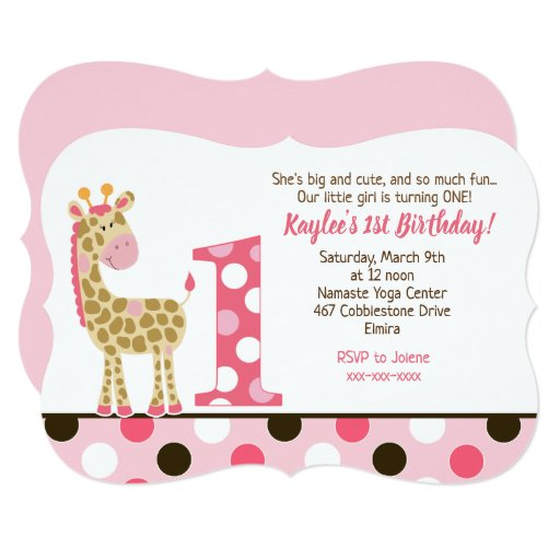 Pink Giraffe 1st Birthday Invitation