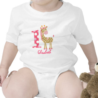 Pink Giraffe 1st First Birthday Custom Shirt