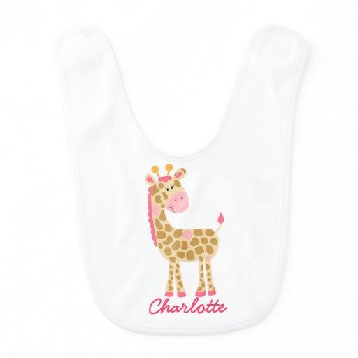 Pink Giraffe Baby Bib