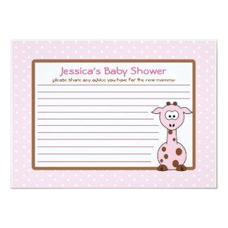 """Pink Giraffe Baby Shower Advice Card 4.5"""" X 6.25"""" Invitation Card"""