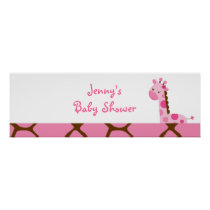 Pink Giraffe Baby Shower Banner Sign