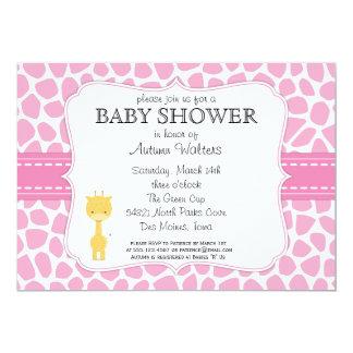 Pink Giraffe Baby Shower Invitations