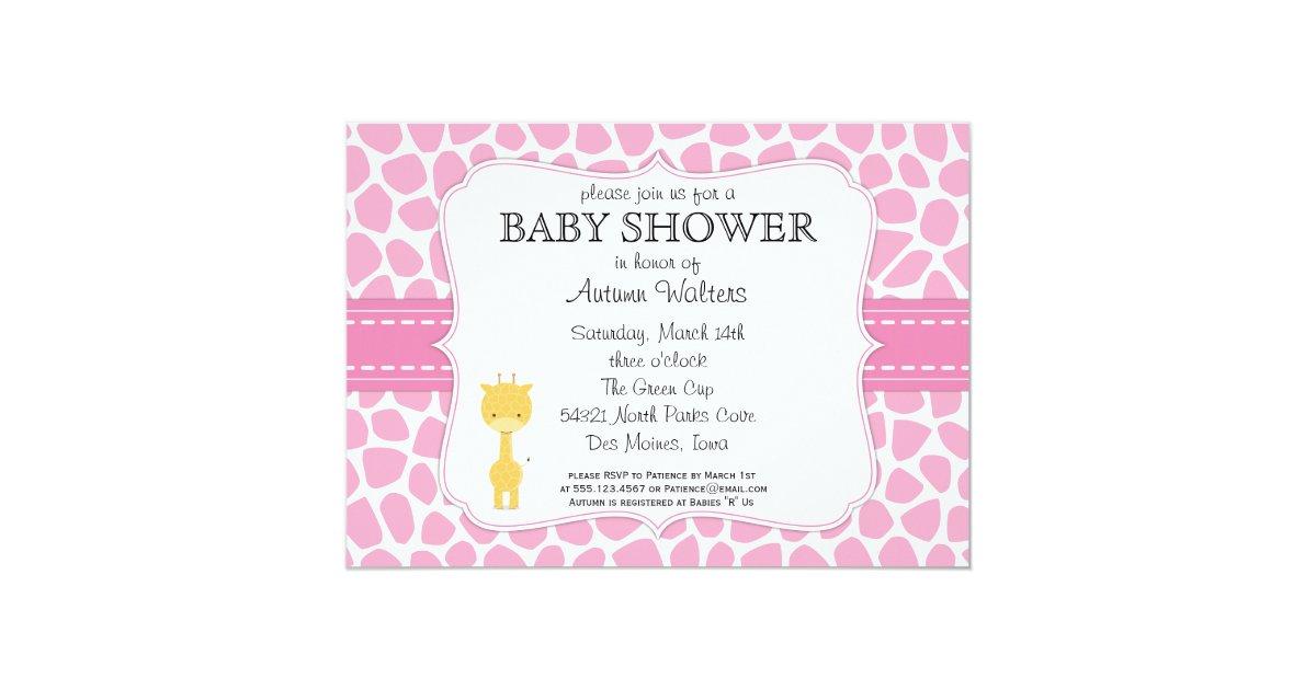 pink giraffe baby shower invitations zazzle