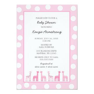 Pink Giraffe baby shower or birthday party Card