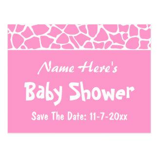 Pink Giraffe Baby Shower Postcard