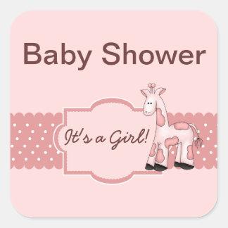 Pink Giraffe Baby Shower Stickers
