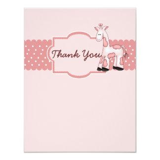 Pink Giraffe Baby Shower Thank You Card Custom Announcements