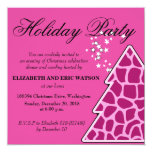 Pink Giraffe Christmas Tree Party Invitation