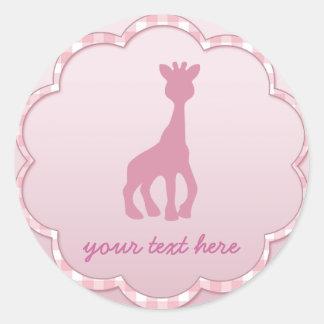 pink giraffe classic round sticker