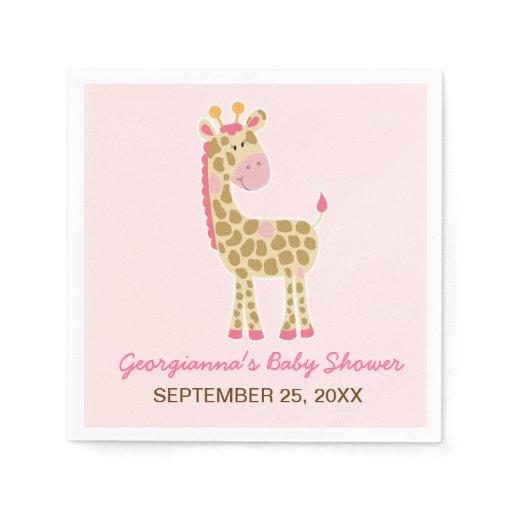 Pink Giraffe Customized Baby Shower Napkin